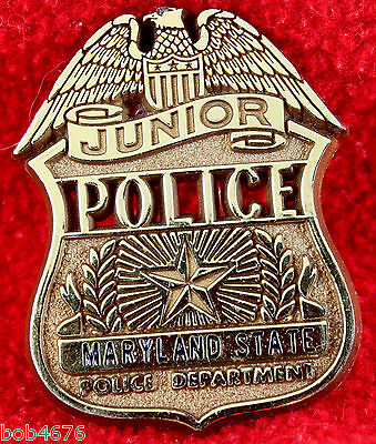 "MARYLAND STATE POLICE DEPARTMENT Junior Police Plastic Badge 1.75"" x 2.25"""