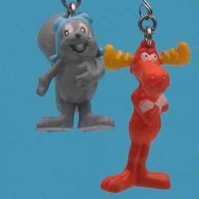 ROCKY & BULLWINKLE 2 PIECE SET Dangling DANGLER FIGURE SUCTION CUP MOUNT 9659