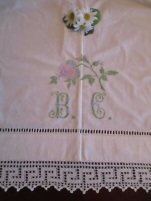 "Sheet w/Hand Embroidered Rose & W/Mono: ""BC"", White Crochet Edging, Vintage"