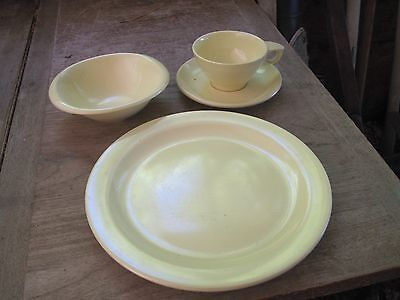 BOONTON New Jersey 4pc. YELLOW Place Setting for Dinner: Plate,Bowl,Cup&Saucer