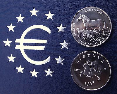 NEW !!! Lithuania Litauen 2017 1,50 Euro coin UNC horse and dogs free ship