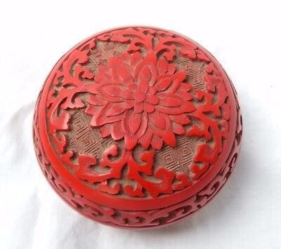 "Vintage Chinese Cinnabar Carved Lacquer on Brass 3"" Round Trinket Jewelry Box"