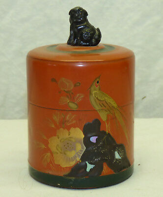 Antique Japanese Lacquer Tea Caddy Tin Painted Bird w/ MOP & Metal Foo Dog