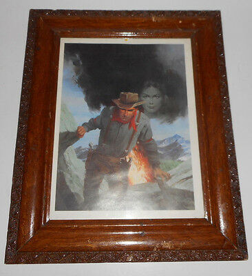 VINTAGE WESTERN COWBOY on ROCKY MOUNTAIN WOMAN  AND FIRE IN BACKGROUND PICTURE