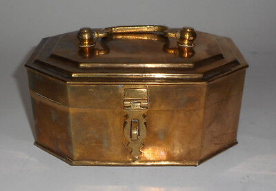 "Vintage Octagonal Brass 8"" CHEST India TOP HANDLE WITH LATCH"