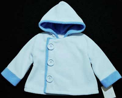 Mud Pie 0-6M Unisex Blue Warm Fleece Coat With Hood~Nwt's