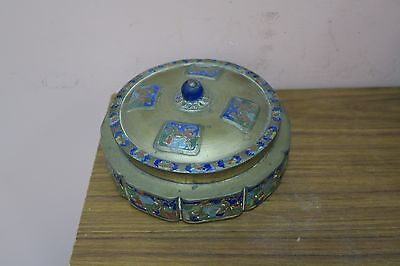"Vintage Enamel Chinese Brass Cloisonné Asian Oriental Box 6.5"" Across - 2"" high"