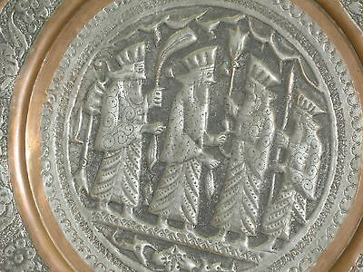 "Vintage Copper Hand Etched Persepolis Persian Tray Ghalamzani 12"" Wall Art Plate"