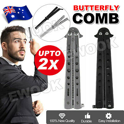 2x Practice Butterfly Balisong Trainer Comb Knife Dull Blade Folding BlackSilver
