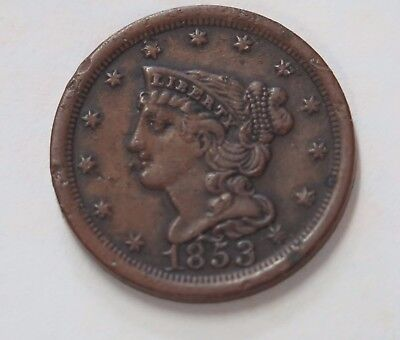 US 1853 Braided Hair Half Cent  Very Fine