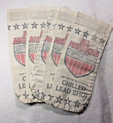 Lot Of 5 ~ All American Chilled Lead Shot ~ Murmur Corp. Dallas Tx ~ Canvas Bags