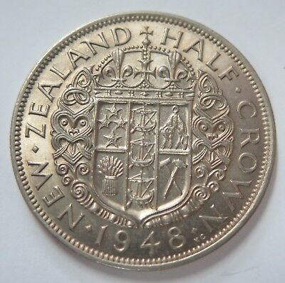 New Zealand 1948 George VI Silver Half Crown