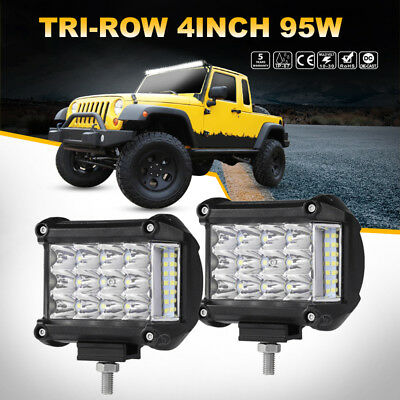 Side Shooter 4inch 95W CREE LED Work Light Pod Combo Beam Driving 6000K Offroad