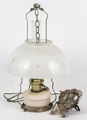 "Beautiful VINTAGE ALADDIN HANGING OIL LAMP 14"" Milk Glass Shade"