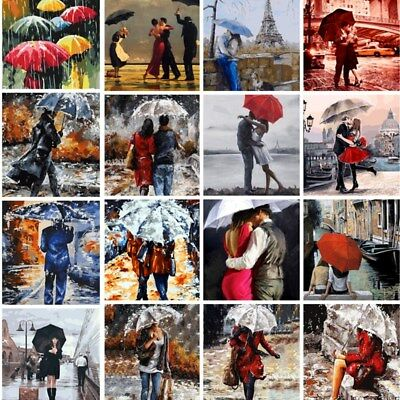 Couple Lover DIY Paint By Number Kit Digital Oil Painting Home Decor Umbrella