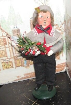 Byers Choice Caroler Victorian Boy with Holiday Greens & Candy Canes 1990   *