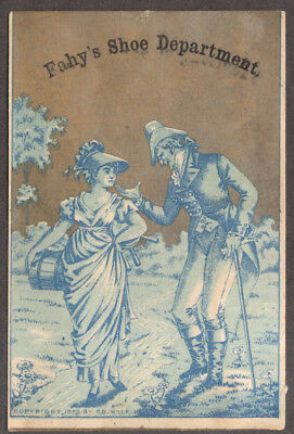 Fahy's Shoe Department Rochester NY trade card dandy & milkmaid 1882