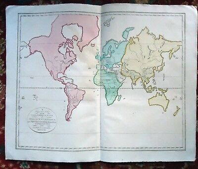 Antique ~ MAP OF ASIA AFRICA AMERICA  Handcoloured ABBE GAULTIER~ 1792