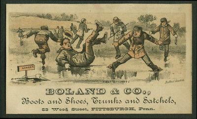 Boland & Co Boots Shoes Trucks Satchels Pittsburgh trade card 1880s ice skaters