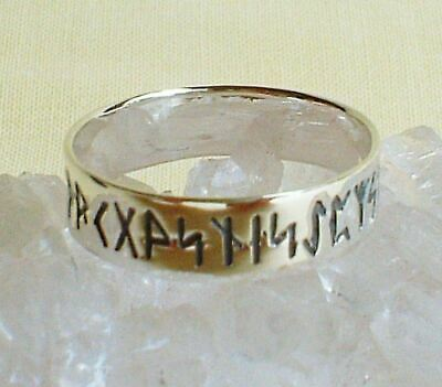 Polished Lightweight Sterling Silver Rune Ring Wicca Norse Pagan Viking Norse