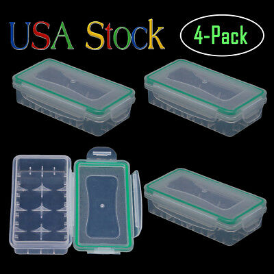 18650 Battery Storage Case/Organizer/Holder for 2x18650 Batteries Waterproof 4Pc
