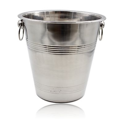 Stainless Steel Ice Bucket Wine Champagne Cooler Silver Side Ring Bar Party