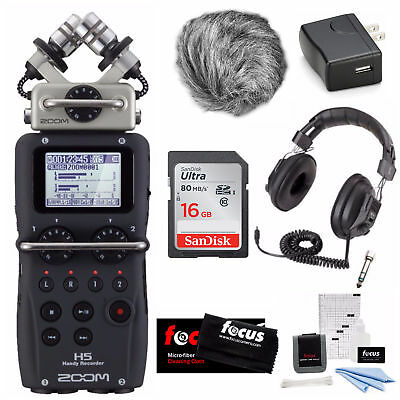 Zoom H5 Portable Recorder with Wind Screen, Adapter and 16GB Card Bundle