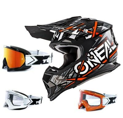 Oneal 2Series Synthy Kinder Crosshelm orange TWO-X Race Motocross Enduro Brille
