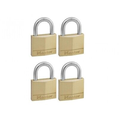 Masterlock Solid Brass 40mm Padlock 4 Pin - Keyed Alike x 4