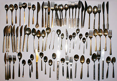 85 Piece Lot of Vintage Airline Dining Service Silver Plate & Stainless Flatware