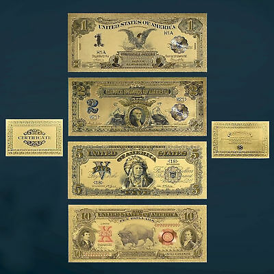 24K Gold Foil Plated 1899-1901 $1 $2 $5 $10 Dollar Bills Novelty Money Currency