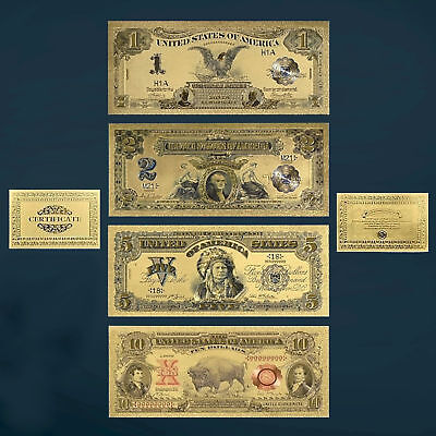 24K Gold Plated 1899-1901 $1 $2 $5 $10 Dollar Bills Novelty Money Us Currency