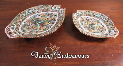 TWO Vintage Chinese Porcelain Thousand Butterflies Fish Shaped Dishes