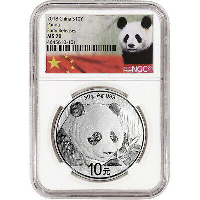 2018 China Silver Panda 30 g 10 Yuan - NGC MS70 - Early Releases Panda Label