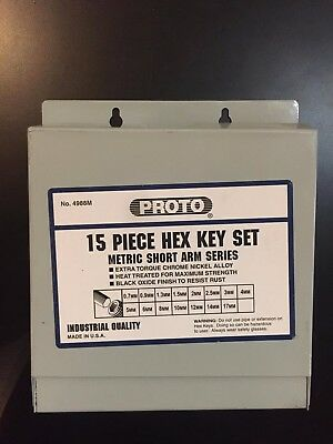 PROTO 4988M METRIC 15 piece HEX KEY SET - SHORT ARM SERIES ,  0.7MM TO 17MM
