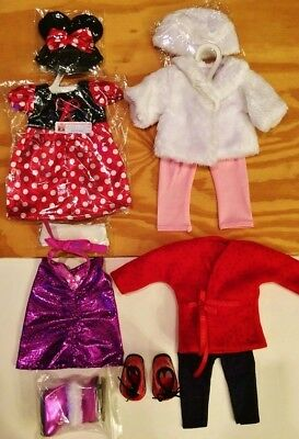 "Doll Clothes LOT Fits 18"" American Girl 4 Outfits New #36 C / Minnie Mouse, Coat"