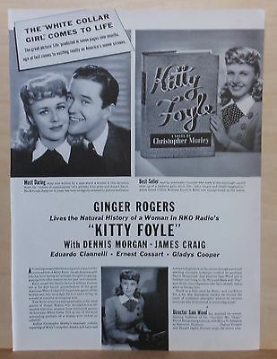 """1940 magazine ad for movie """"Kitty Foyle"""" - Ginger Rogers, Dennis Morgan"""