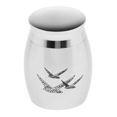 Cremation Urn Ash Holder Necklace Ashes Container Memorial Stainless Silver Jar