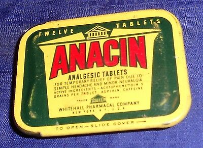 ML311 Vtg Whitehall Pharmaceutical Co. Anacin Analgesic Tablets Hinged Lid Tin