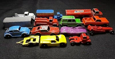 Vintage Tootsie Toy Car Lot Mobil Fuel Tanket Ford GT Mail Truck Dragster VW Bug