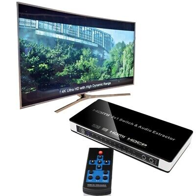 HDMI 5x1 4K Switch with Optical/Toslink RCA L/R Output 3D Audio Extractor 1080P