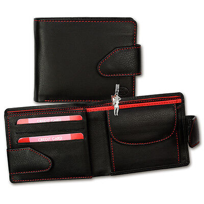 Leather Wallet Black/Red Wallet Men's Purse Old River opd100r
