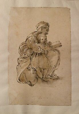 Disegno a China painting drawing  IL RACCONTO 1700  carta vergellata