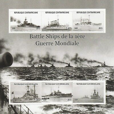 Central African Rep 6973 - BATTLE SHIPS of WW1  perf sheetlet 6 values u/m