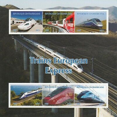 Central African Rep 6979 - EXPRESS TRAINS of EUROPE #2  perf sheetlet of 6 u/m