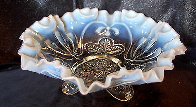 Vintage Jefferson Glass - Meander- Opalescent /White Footed Bowl by Northwood
