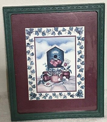 Homco Home Interiors Picture Bird House Apple Seed Flowers & Pot Green Frame VGC