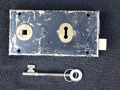Vintage Reclaimed Union Rim Lock Door Latch & Key