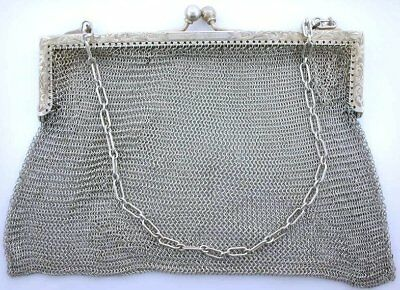100 Year Old Antique Sterling Silver  Purse Engraved Ac Ebs1257