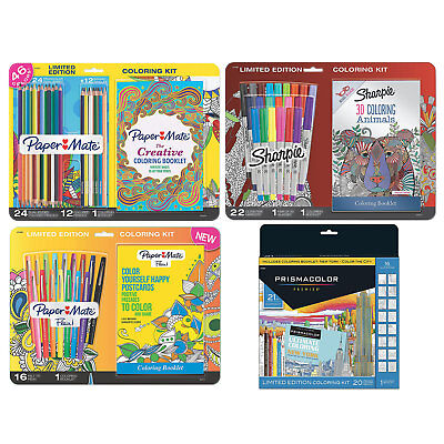 Prismacolor, Paper Mate and Sharpie Adult Coloring Book Kits